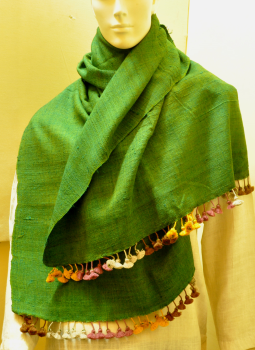 Warm Stoles & Mufflers,Indiacraft,Tussore & Wool Emerald Green Stole with multicoloured tas...