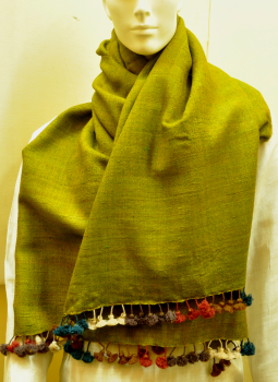 Warm Stoles & Mufflers,Indiacraft,Tussore & Wool Warm Green Stole with multicoloured tassles