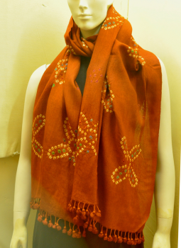Warm Stoles & Mufflers,Indiacraft,Rust-Bandhini-Woolen-Stole-with tassles