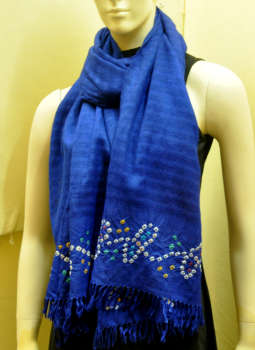 Warm Stoles & Mufflers,Indiacraft,Royal-Blue-Bandhini-Woolen stole with tassles