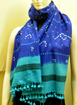 Warm Stoles & Mufflers,Indiacraft,Royal-Blue-&-turquoise-bandhini -wolllen stole with tassles
