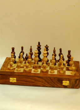 Painted wood,Indiacraft,Wooden carved Chess set with Rosewood board - Domes  WCCSRBA