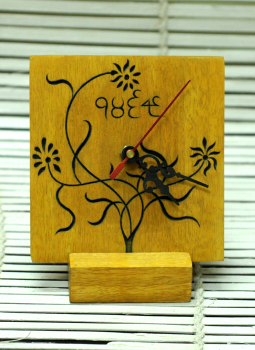 Embellished wood,Indiacraft,Wooden engraved table clock with stand