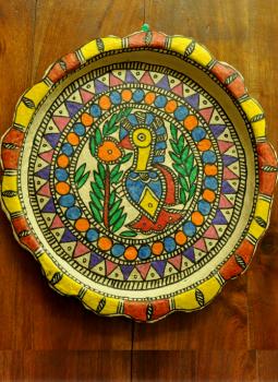 Trays,Indiacraft,Madhubani wall plaque or tray - papier mache orange blue ...