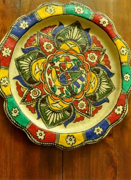 Trays,Indiacraft,Madhubani wall plaque or tray - papier mache bird on tree...