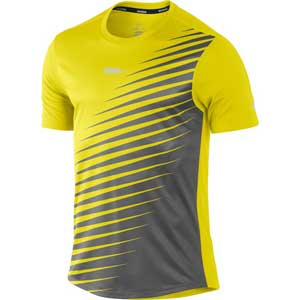 buy nike mens sublimated running t shirt yellow online. Black Bedroom Furniture Sets. Home Design Ideas