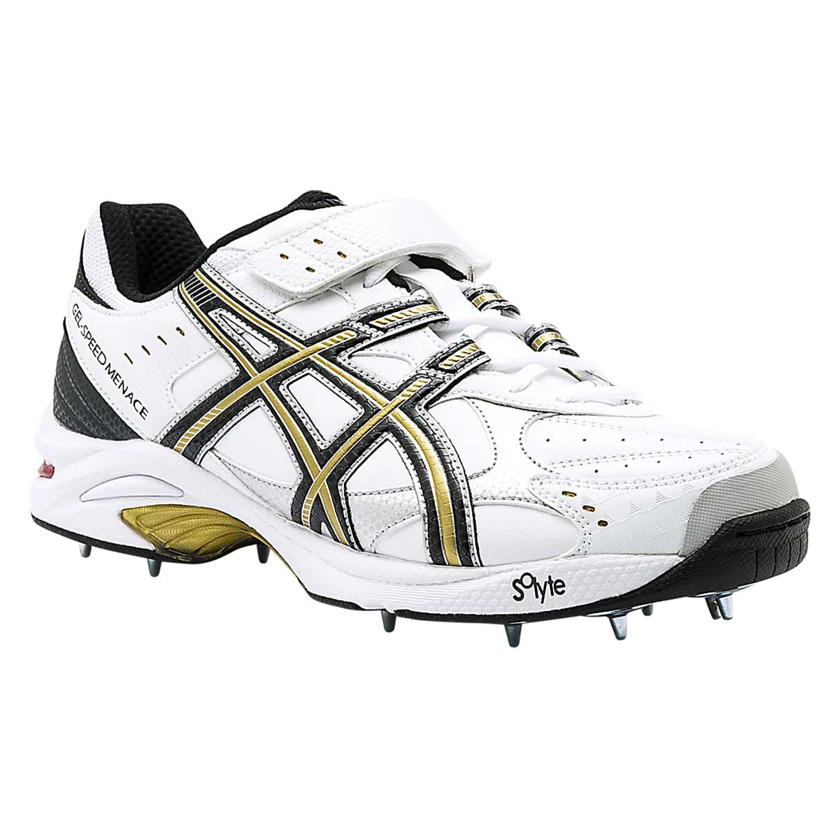 Cricket Shoes, Cricket, Sports, Buy, Asics, Asics Gel-Speed Menace Lo Right  Cricket Shoes (White/Black/Gold)