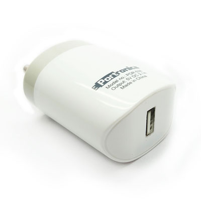 Adapters, Portronics, 2.1A Adapter with Single USB Port , It is portable and handy device , Fast charging 2.1A portable USB Adapter with single USB Port. , The blue LED light will illuminate while charging. , Constant voltage charging mode for safe usage. Compact and light weight for ease of convenience to carry around. , 5V DC 2.1A