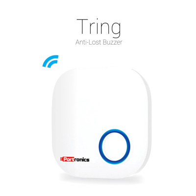 Portable Peripherals, Portronics, Tring Anti-Lost Buzzer , Location Record, Remotely Capture Images, High Volume Buzzing , Anti Lost Alarm Signal, Loss Alarm Lost, Aircraft Finder , Both the Tring & your device will beep to alert you when they disconnect from each other. , Wireless : Bluetooth 4.0, Water-proof : IP67, Range : 0-50 metres Buzzer : 80 dB, Battery : CR2030 button battery X1, Certificate : CE FCC ROHS approved, Dimensions : 38 X 38 X 9mm, Weight : 12g (Approx.)