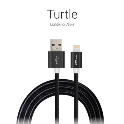 Cables, Portronics, Turtle  Lightning Cable , These cables have extra thick 4.5mm fiexible cords and faux leather coating to provide best performance and much longer life. , Turtle cables are unique in terms of design, elegance and long lasting use. , 12 Mbps , Turtle Lightning Cables are used for charging and data transfer by iPhones/iPads/iPods and look a perfect match of elegance with your IOS devices. , PREMIUM TIN PACKAGING , Connector : Lightning Cable, Length : 1M, Function : Charging & Data Sync, Wire Material : Aluminium & Leather Finish, Data Transfer : 12 Mbps