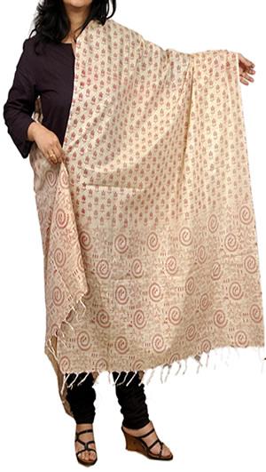Plain Cotton, Dupattas, Womens Wear, Indian Concepts, Khadi-Cotton Warli Dupatta