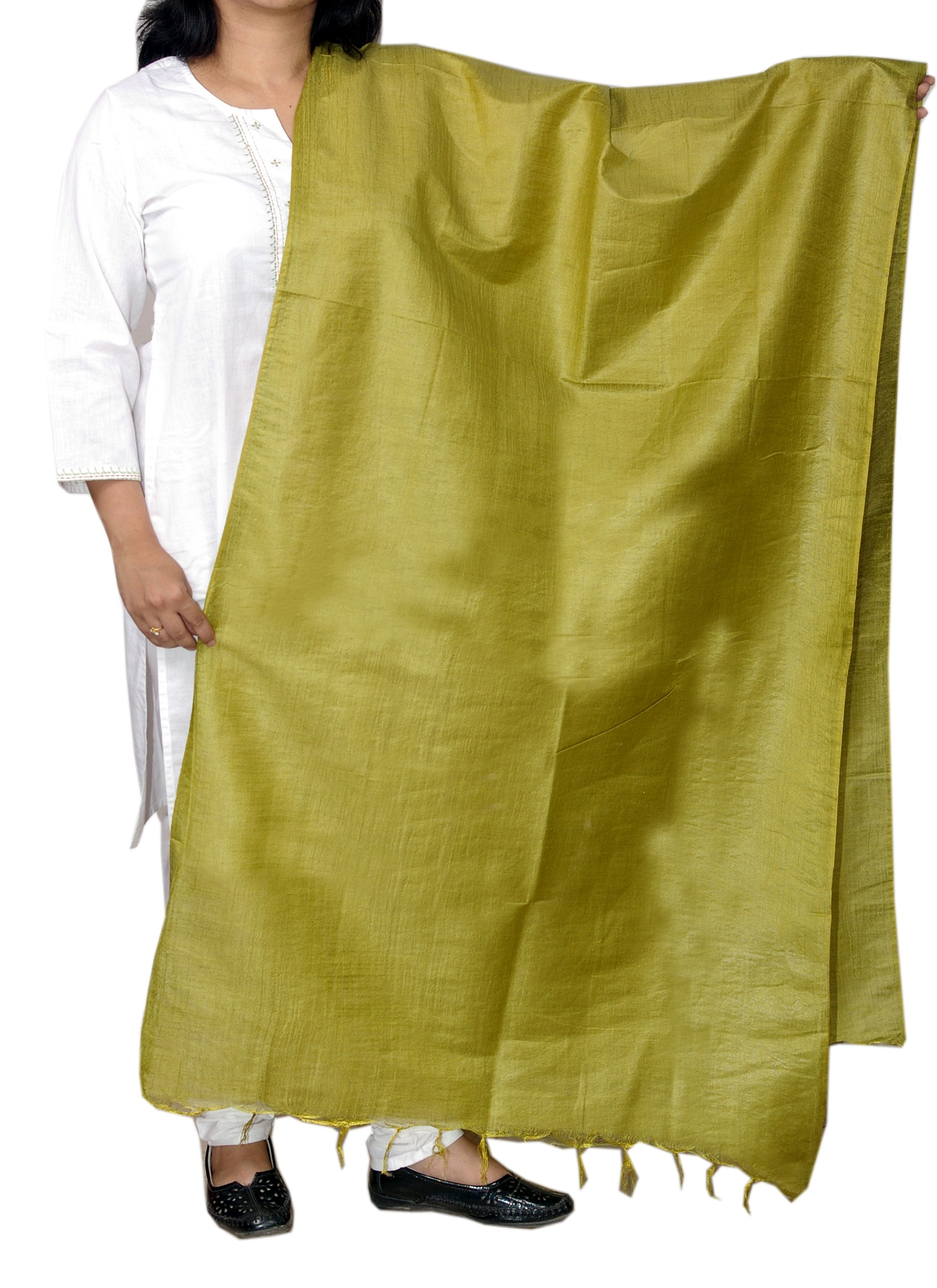 Silk Dupattas, Dupattas, Womens Wear, Indian Concepts, Vibrant Green Cotton-Silk Blend corporate Dupatta