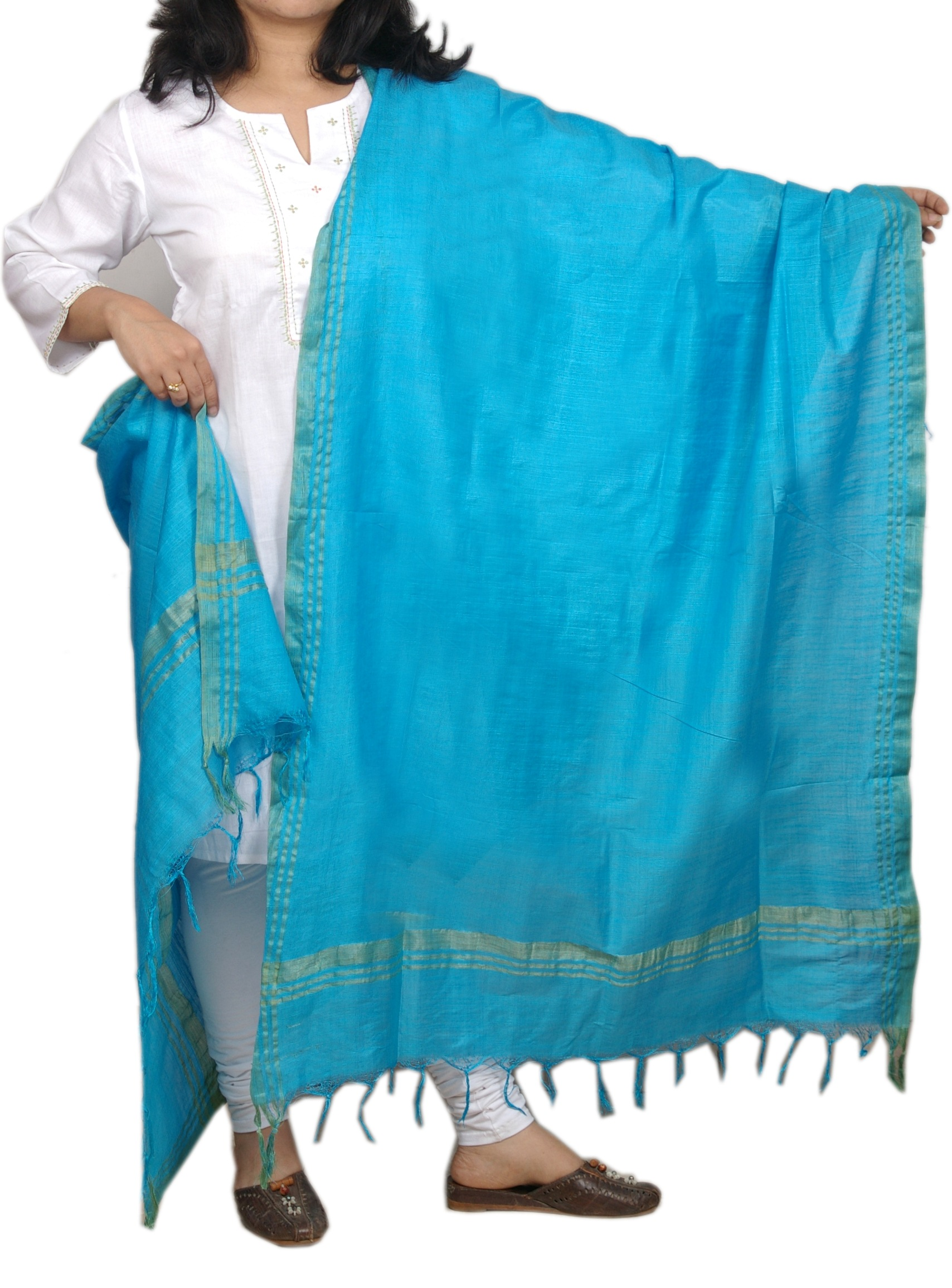 Silk Dupattas, Dupattas, Womens Wear, Indian Concepts, Sea Blue Cotton Silk Dupatta