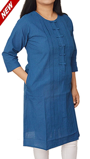 Women Corporate Kurtas, Women Corporate Wear, Womens Wear, Indian Concepts, Navy Blue Signature Buttons Corporate Kurta