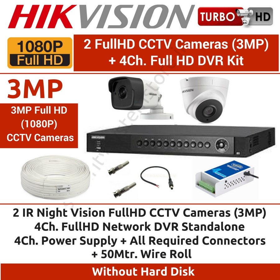 4 CCTV Cameras & DVR Kit,Hikvision,HIKVISION Full HD (3MP) 2 CCTV Cameras & 4Ch.Full HD DVR Kit