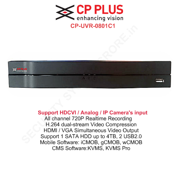 Network DVR Standalone,CP PLUS,CP Plus HD DVR Standalone 8Ch. Model:CP-UVR-0801C1
