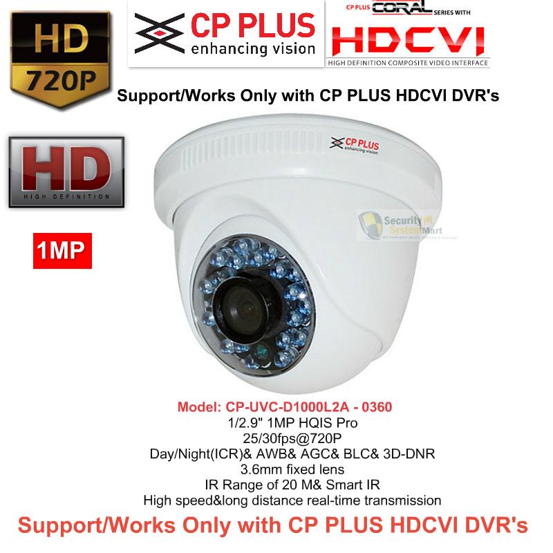 IR Night Vision Cameras,CP PLUS,CP PLUS HD CCTV Camera DOME CP-VCG-D10L2V1 (1MP)