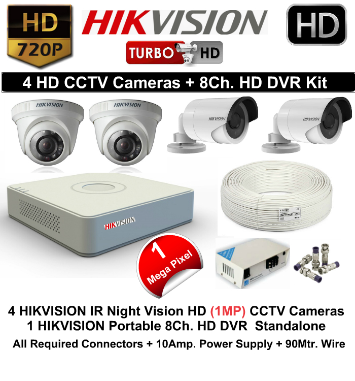 4 CCTV Cameras & DVR Kit,Hikvision,HIKVISION HD 4 CCTV Camera (1MP) and 8Ch.HD DVR Kit