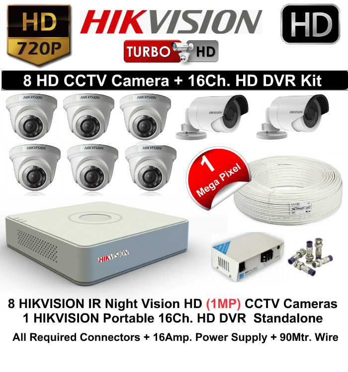 8 CCTV Cameras & DVR Kit,Hikvision,HIKVISION HD 8 CCTV Camera (1MP) and 16Ch.HD DVR Kit