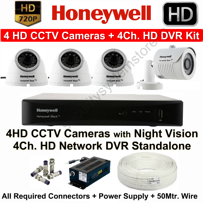 4 CCTV Cameras & DVR Kit,HONEYWELL,Honeywell 4HD CCTV Camera Kit (4HD Cameras + 4Ch.HD DVR with All Accessories)