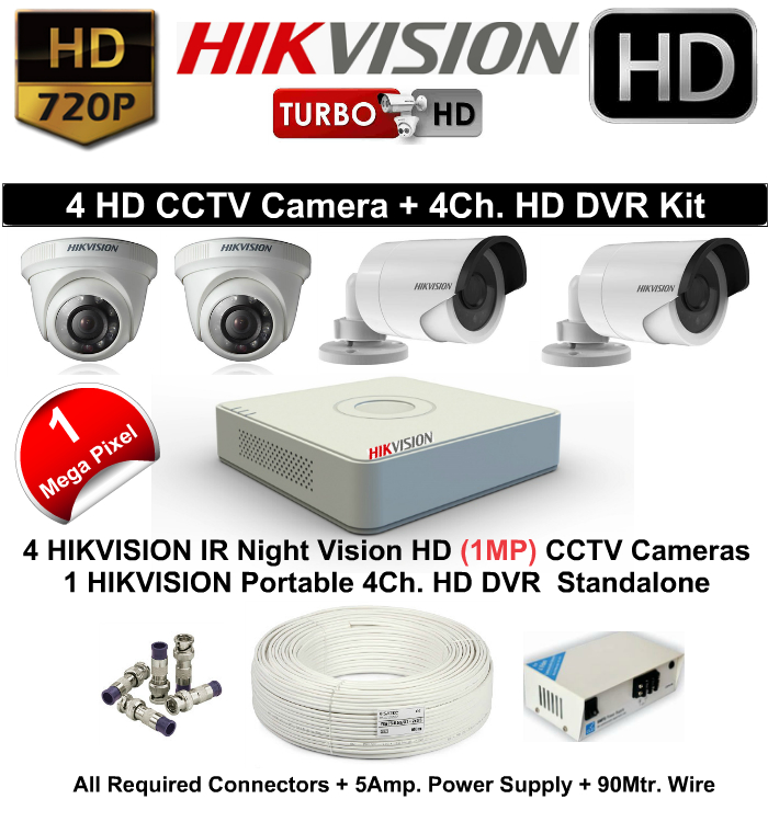 4 CCTV Cameras & DVR Kit,Hikvision,HIKVISION HD 4 CCTV Camera (1MP) and 4Ch.HD DVR Kit