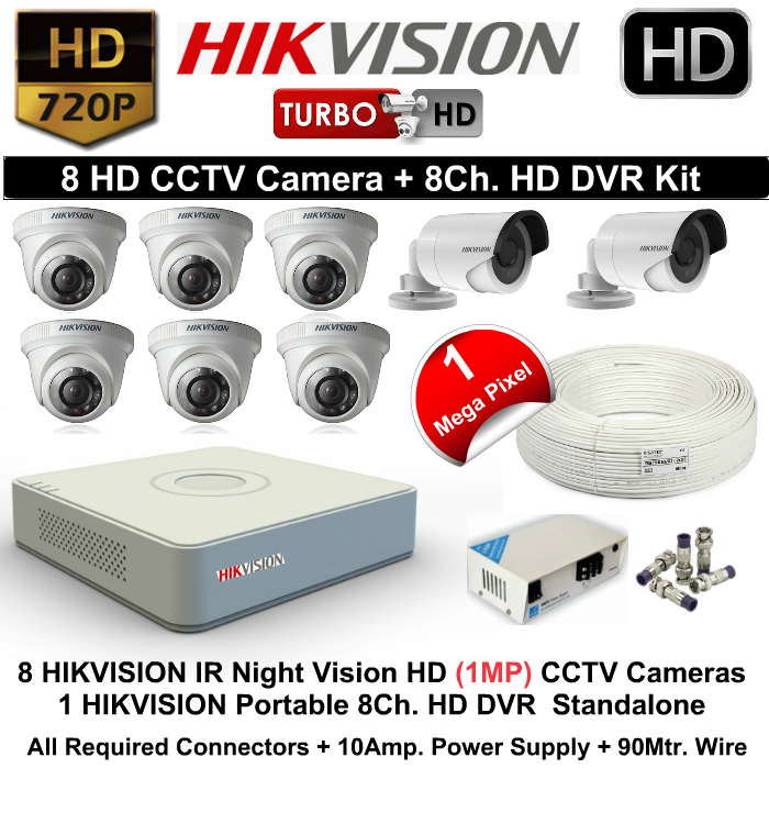 8 CCTV Cameras & DVR Kit,Hikvision,HIKVISION HD 8 CCTV Camera (1MP) and 8Ch.HD DVR Kit
