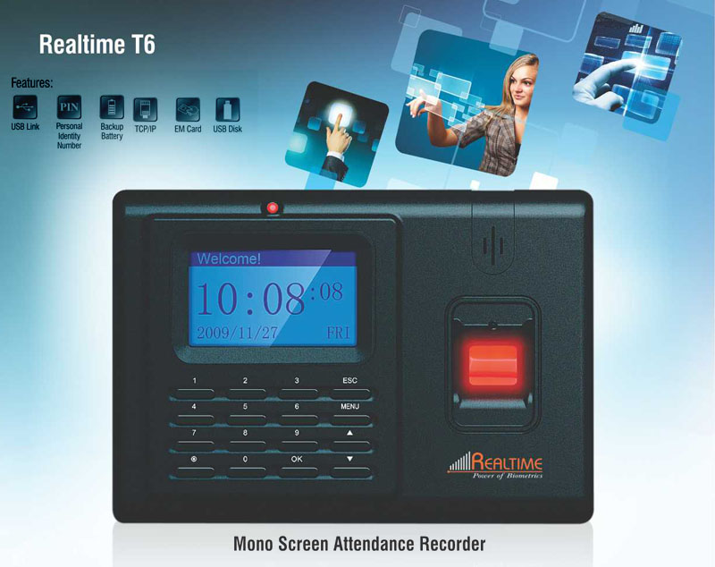 Access Control Systems,Realtime,Realtime T6 Fingerprint + RFID Card based Time Attendance Recorder