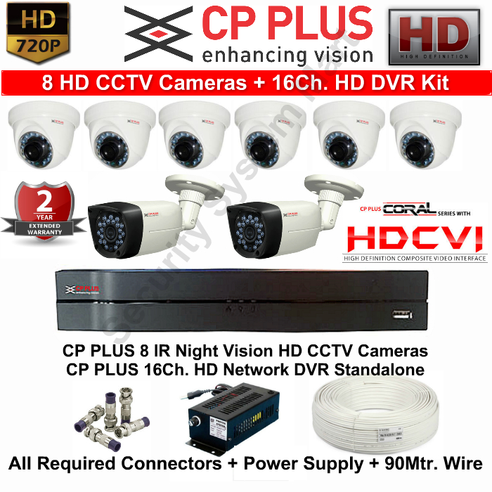8 CCTV Cameras & DVR Kit,CP PLUS,CP PLUS HD CCTV Cameras 8 with 16Ch. HD DVR Kit with All Accessories
