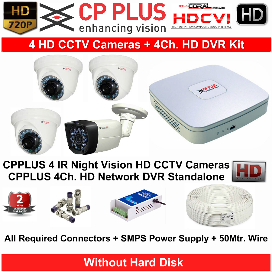 4 CCTV Cameras & DVR Kit,CP PLUS,CP PLUS HD CCTV Cameras 4 with 4Ch. HD DVR Kit with All Accessories