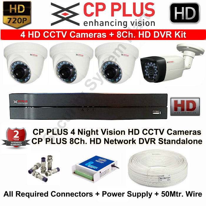 8 CCTV Cameras & DVR Kit,CP PLUS,CP PLUS HD CCTV Cameras 4 with 8Ch. HD DVR Kit with All Accessorie