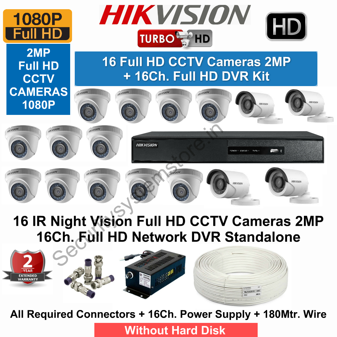 16 CCTV Cameras & DVR Kit,Hikvision,HIKVISION Full HD (2MP) 16CCTV Cameras & 16Ch.Full HD DVR Kit