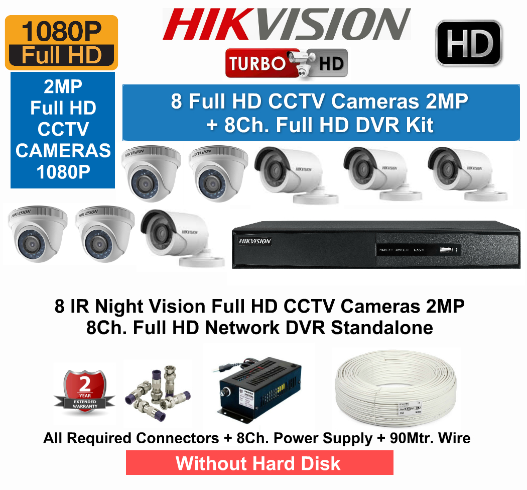8 CCTV Cameras & DVR Kit,Hikvision,HIKVISION Full HD (2MP) 8CCTV Cameras & 8Ch.Full HD DVR Kit