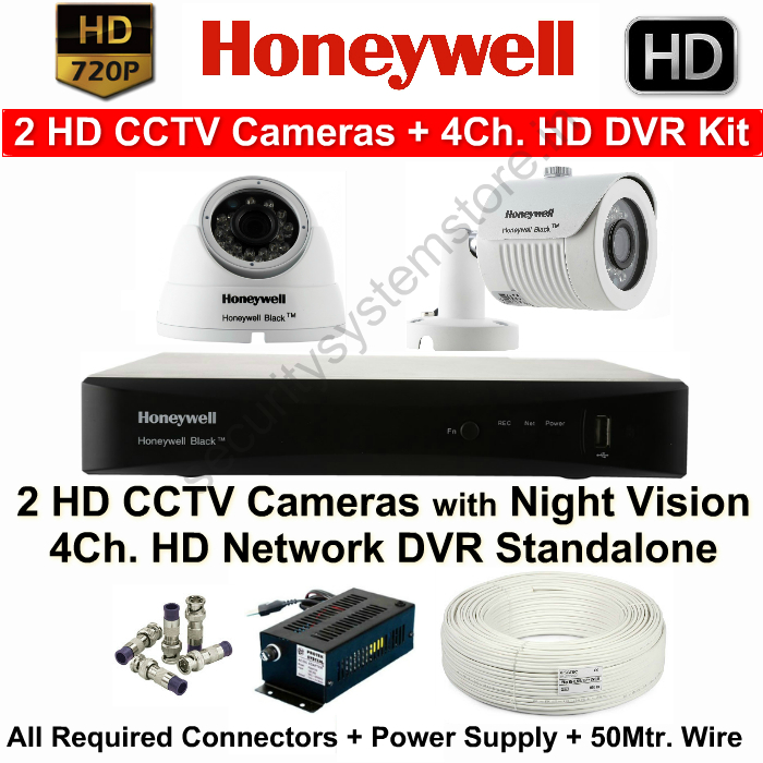 IR Night Vision Cameras,HONEYWELL,Honeywell HD CCTV Camera Kit (2HD Cameras with 4Ch. HD DVR with All Accessories)
