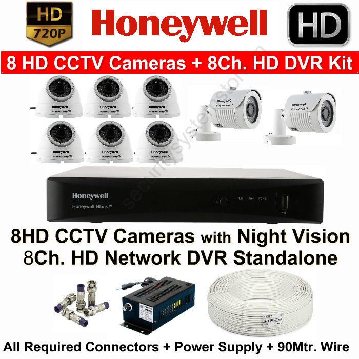 8 CCTV Cameras & DVR Kit,HONEYWELL,Honeywell 8HD CCTV Camera Kit (8HD Cameras + 8Ch.HD DVR with All Accessories)