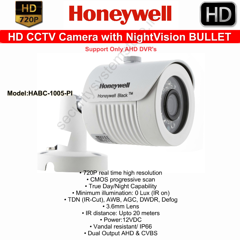 IR Night Vision Cameras,HONEYWELL,Honeywell HD CCTV Camera with Nightvision Bullet (Weatherproof)