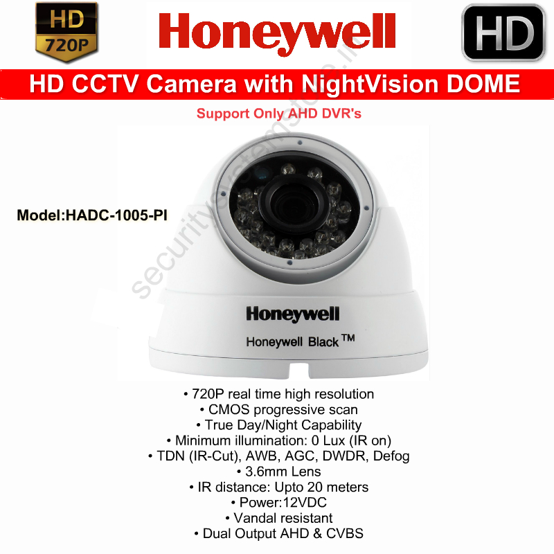 DOME Cameras,HONEYWELL,Honeywell HD CCTV Camera with Nightvision (VandalProof) DOME