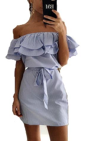 Dresses, Women'S Apparel, Nine Box, Nine Box, Soleil Off Shouler Ruffle Striped Dress