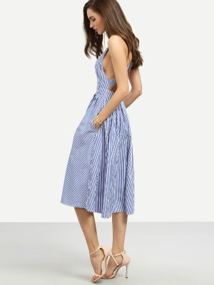 Dresses, Women'S Apparel, Nine Box, Nine Box, Mimosa Melee Stripped Backless Midi Dress