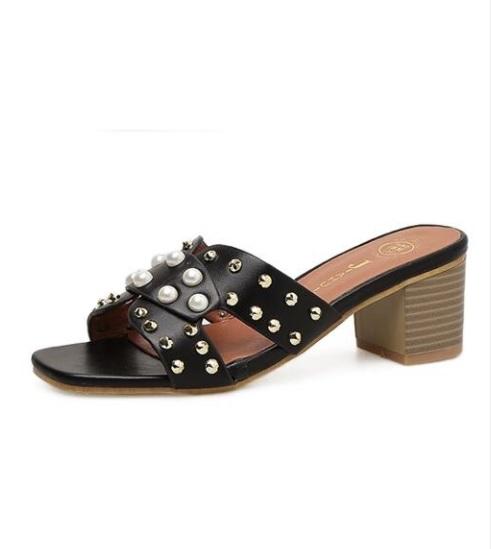 97099d450a8 Cute Pearl Bead Sandals- Black