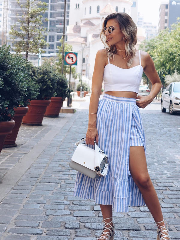 5dfc982f4 Skirts/Bottoms, Pre-Order, Nine Box, Blue and White Striped Skirt