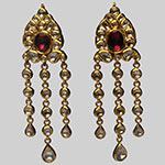 Kundan Earrings,Mangatrai,33.630gms Kundan Earrings in 22kt. Gold