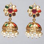Kundan Earrings,Mangatrai,22.160gms Kundan Earrings in 22kt. Gold