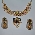 Kundan Necklace Sets,Mangatrai,139.360gms Kundan Necklace Set in 22kt. Gold
