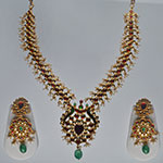 Kundan Necklace Sets,Mangatrai,144.860gms Kundan Necklace Set in 22kt. Gold