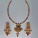 Kundan Necklace Sets,Mangatrai,103.800gms Kundan Necklace Set in 22kt. Gold