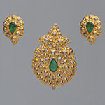 Polki Locket Sets,Mangatrai,5.13ct. Polki Locket Set in 22kt. Gold