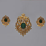 Polki Locket Sets,Mangatrai,3.8ct. Polki Locket Set in 22kt. Gold
