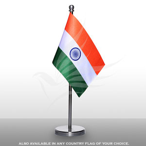 Single Flags, Miniature Flags, Penguin Super Silk, Miniature Table Flag With A Graceful Stainless Steel Base