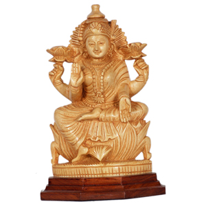 Shivani Wood Carved Laxmi With RW Base