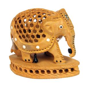 Wood Carved U/C Inlay Elephant